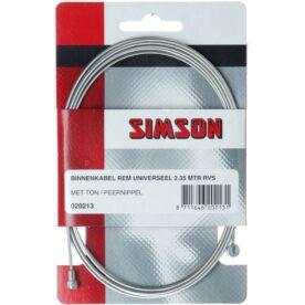 Simson rem binnenkabel rvs 2.35m 2 nippels ton/peer